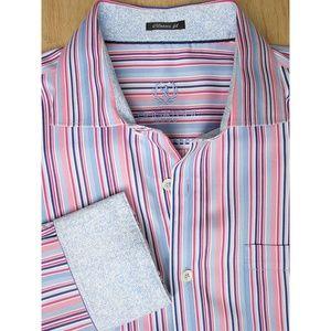 Bugatchi Uomo Men's Pink Blue Striped Shirt Sz L